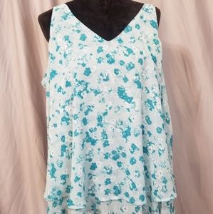 Business Casual Sleeveless Teal Floral top